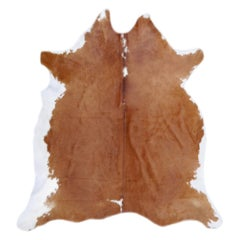 Contemporary Cowhide Rug Light Brown Caramel Beige