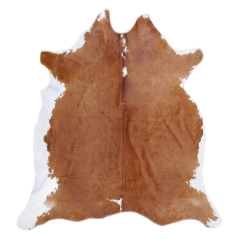 Contemporary Cowhide Rug Light Brown Caramel Beige For Sale