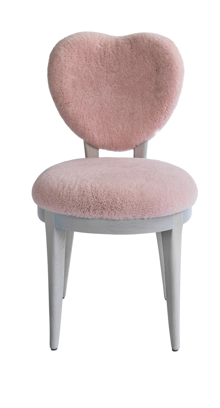 Romantic Contemporary Coy Chair Pink Sheepskin Upholstered Dining Chair or Side Chair For Sale