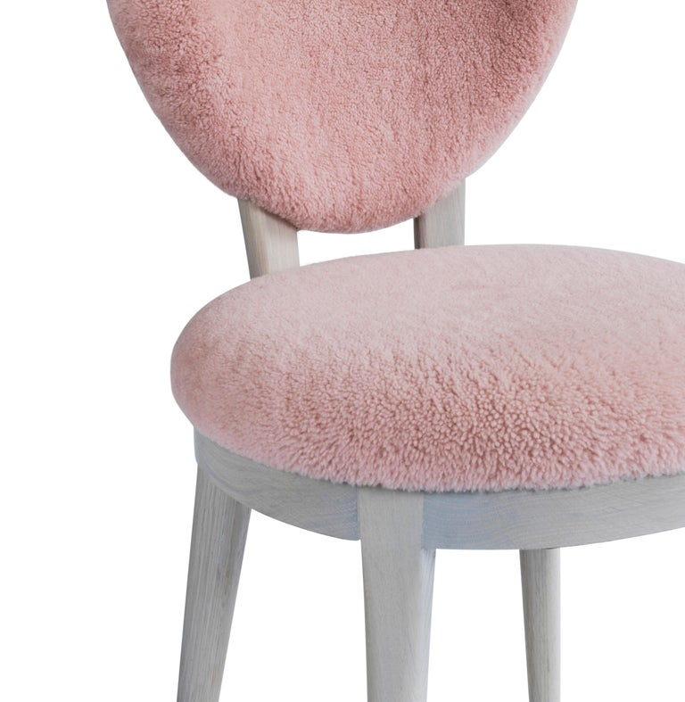 Carved Contemporary Coy Chair Pink Sheepskin Upholstered Dining Chair or Side Chair For Sale