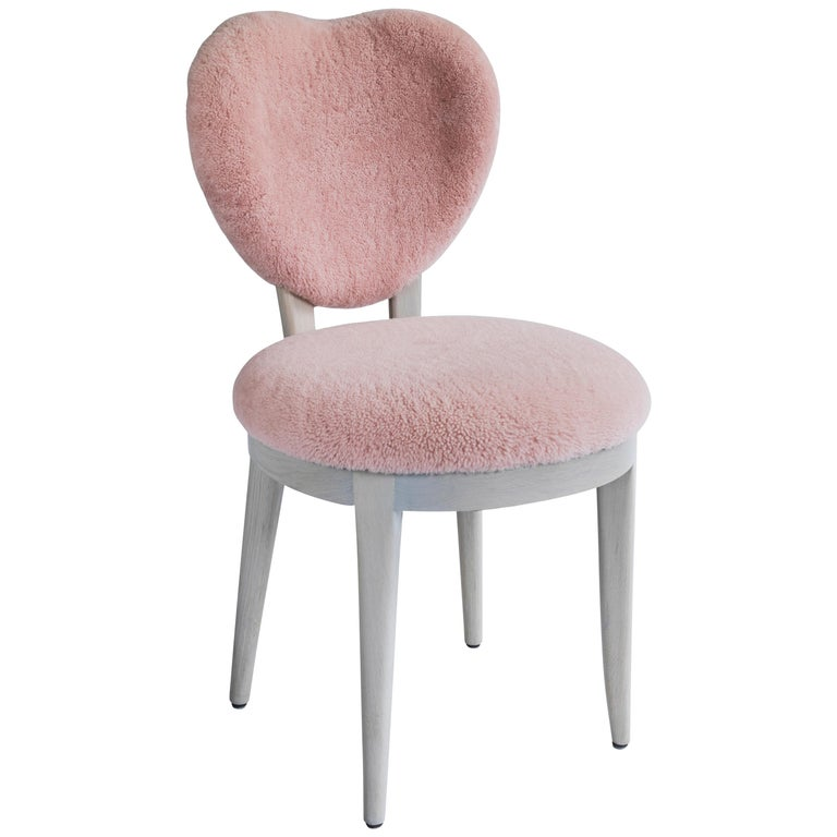 Contemporary Coy Chair Pink Sheepskin Upholstered Dining Chair or Side Chair For Sale