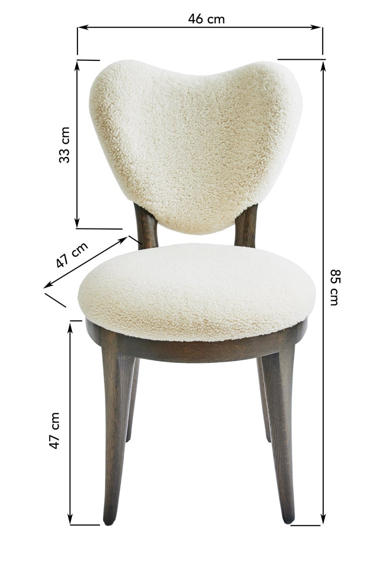 Carved Contemporary Coy Chair White Sheepskin Upholstered Dining Chair or Side Chair For Sale