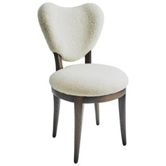 Contemporary Coy Chair White Sheepskin Upholstered Dining Chair or Side Chair