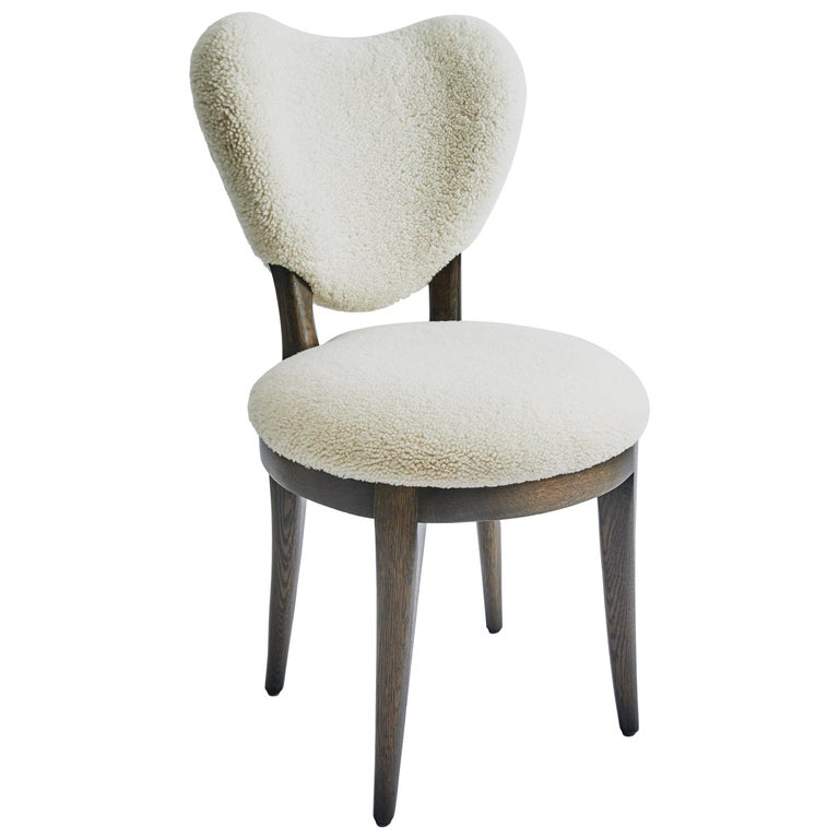 Contemporary Coy Chair White Sheepskin Upholstered Dining Chair or Side Chair For Sale