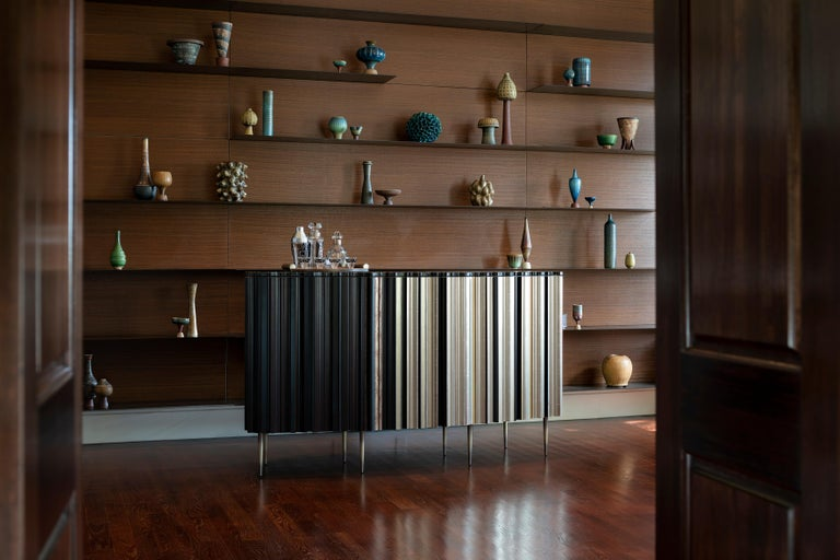 Bronzed Contemporary Crafted Gold Leaf and Darkened Wood Molding Credenza by Luis Pons For Sale