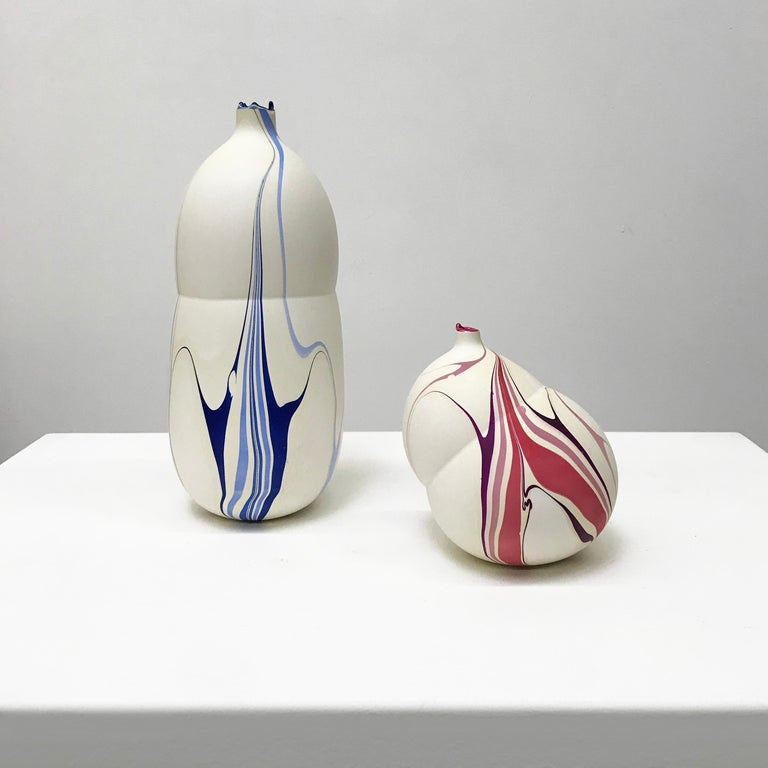 Resin Contemporary Cream and Magenta and Purple Marbled Pandora Vase by Elyse Graham For Sale