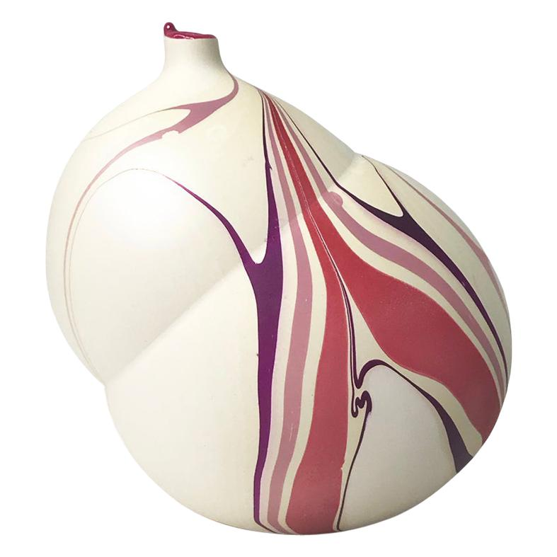 Contemporary Cream and Magenta and Purple Marbled Pandora Vase by Elyse Graham