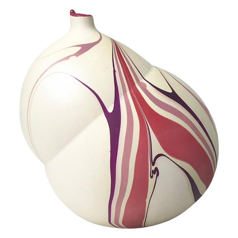 Contemporary Cream and Magenta and Purple Marbled Pandora Vase by Elyse Graham For Sale