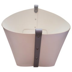 Contemporary Cream Leather with Grey Detail Pinetti Ovo Basket