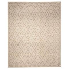 Contemporary Cream Moroccan Flat-Weave Rug