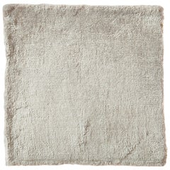 Contemporary Cream with Silver Tonal Hand-Loomed Bamboo Silk Rug