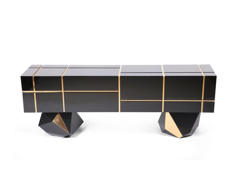 Modern Contemporary Credenza Solitaire, Black, Brass, High Gloss