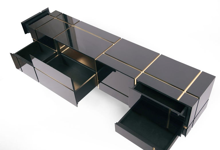 Latvian Contemporary Credenza Solitaire, Black, Brass, High Gloss