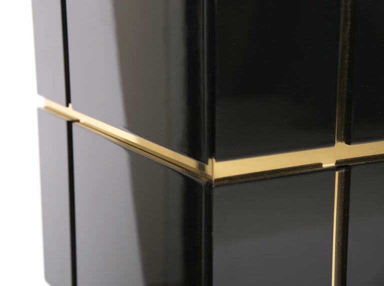 Contemporary Credenza Solitaire, Black, Brass, High Gloss In New Condition In Husavik, IS