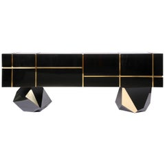 Contemporary Credenza Solitaire, Black, Brass, High Gloss