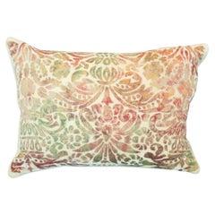 Contemporary Creme Silk Velvet Pillow with Multicolour Devoré Detail