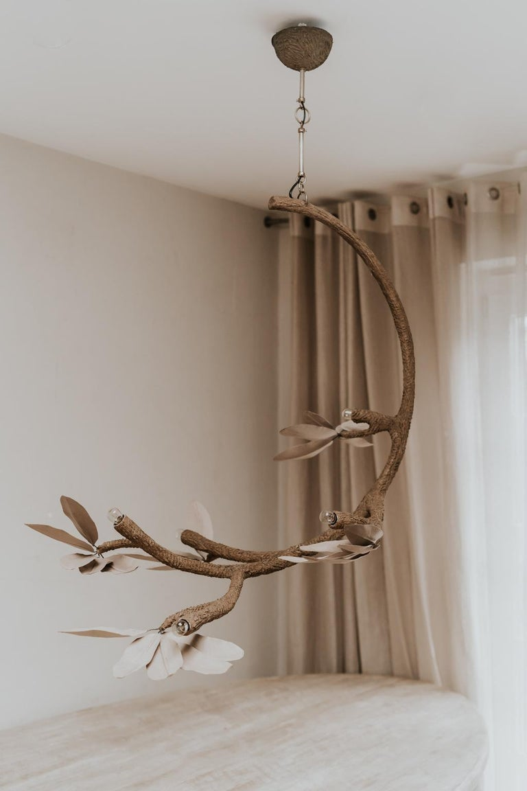 French Contemporary Crescent Moon Branches and Leaves Lamp or Chandelier For Sale