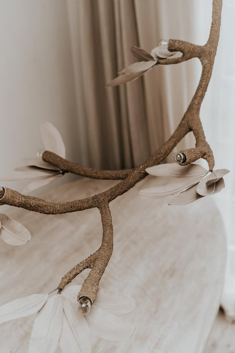 Brass Contemporary Crescent Moon Branches and Leaves Lamp or Chandelier For Sale