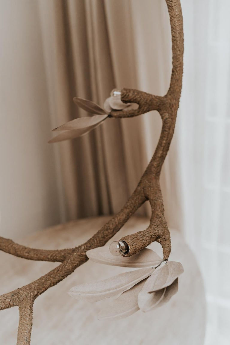 Contemporary Crescent Moon Branches and Leaves Lamp or Chandelier For Sale 1