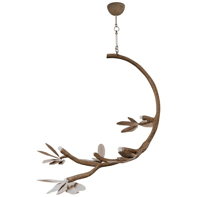 Contemporary Crescent Moon Branches and Leaves Lamp or Chandelier For Sale