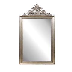 Contemporary Crested Mirror with Rocailles Motifs and Antiqued Silver Finish