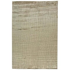 Contemporary Crocodile Design Cool Gray Hand Knotted Silk Rug