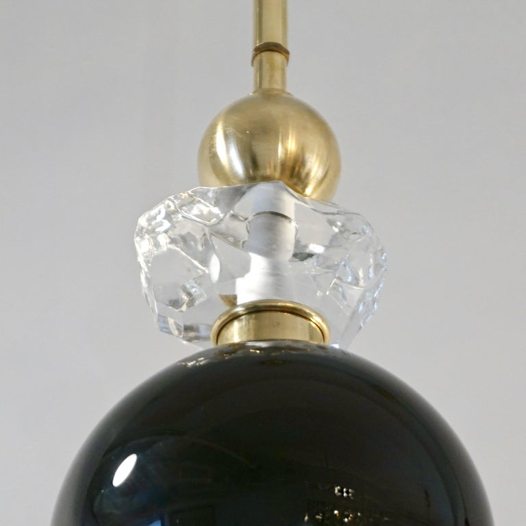 Organic Modern Contemporary Crystal Black and White Smoked Murano Glass Pendant Light For Sale