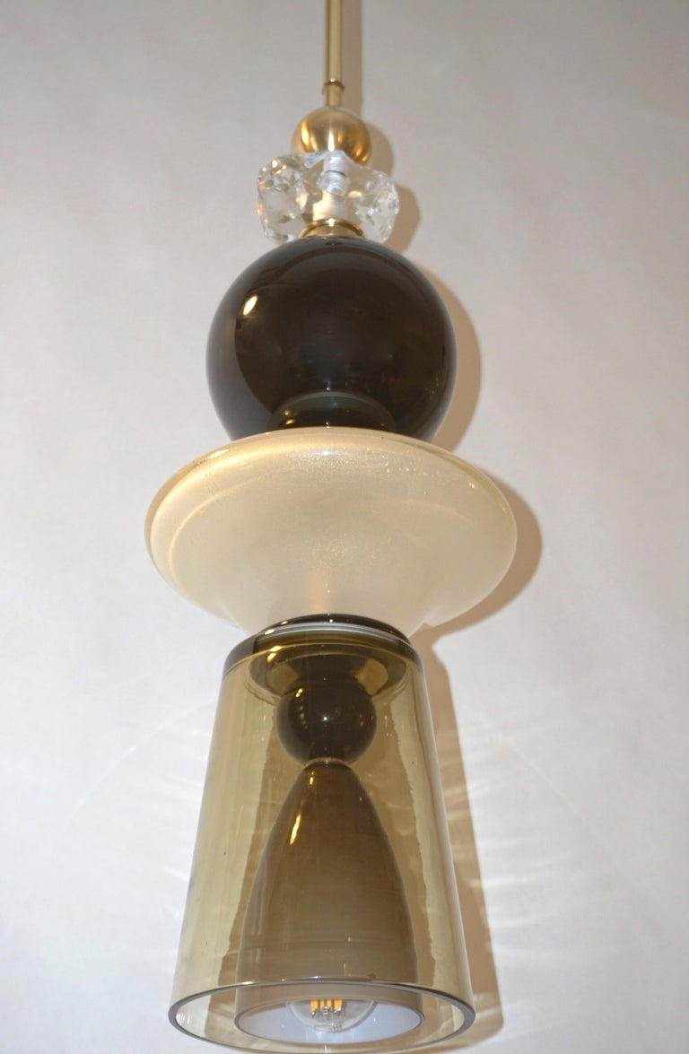 Hand-Crafted Contemporary Crystal Black and White Smoked Murano Glass Pendant Light For Sale