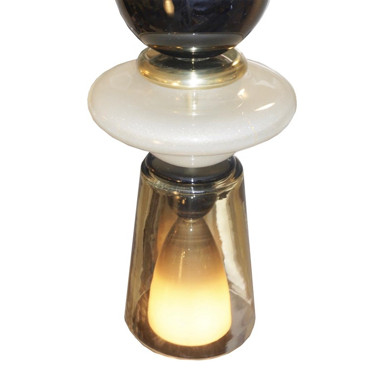 Brass Contemporary Crystal Black and White Smoked Murano Glass Pendant Light For Sale
