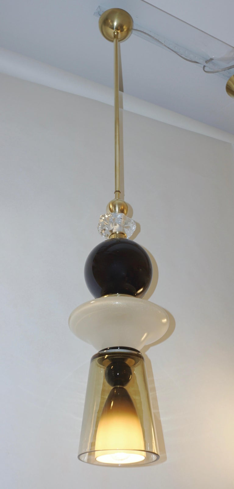 Contemporary Crystal Black and White Smoked Murano Glass Pendant Light For Sale 2