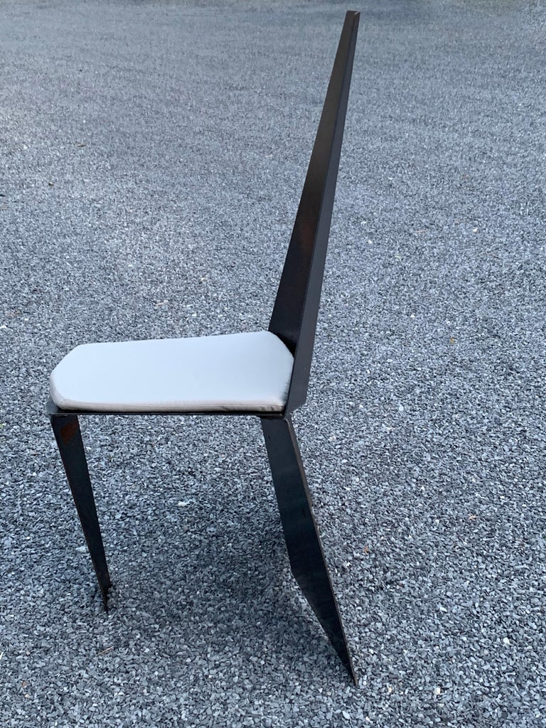 Contemporary Crystallized Chair in Blackened Steel For Sale 6