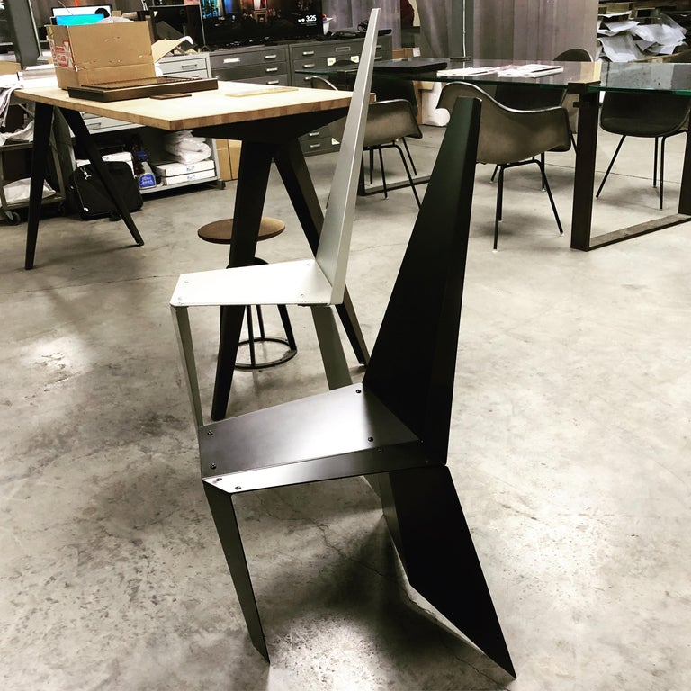 Contemporary Crystallized Chair in Blackened Steel In New Condition For Sale In Brooklyn, NY