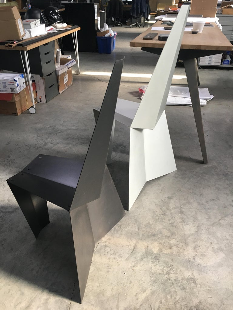 Contemporary Crystallized Chair in Blackened Steel For Sale 3