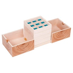 Contemporary Cubed Jewellery Box Made in Elm and Maple with Teal Fabric