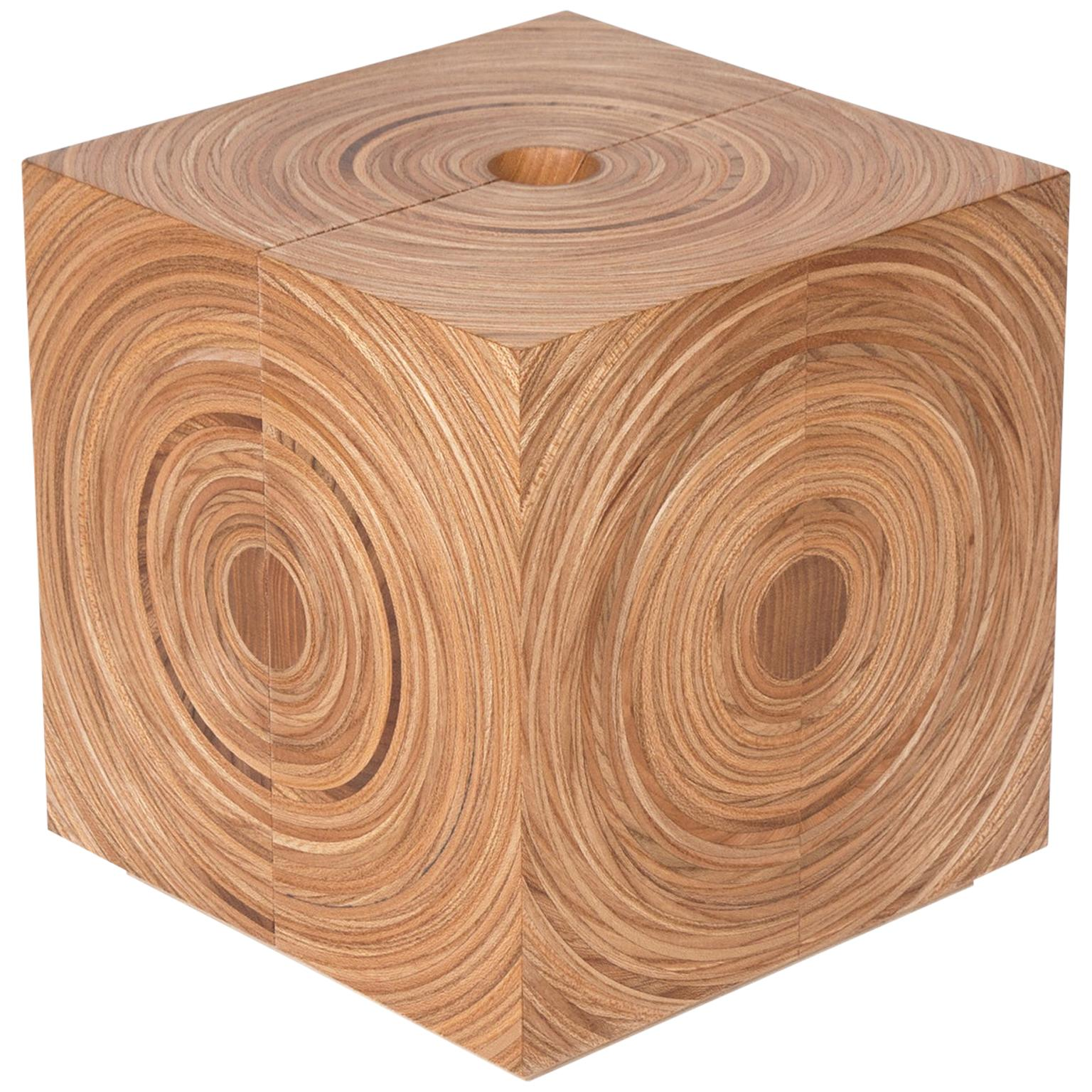 Contemporary Cubed Jewelry Box in Elm and Maple by Edward Johnson