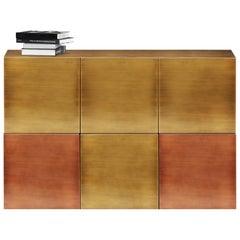 Zeitgenössisches Cucu Sideboard oder Anrichte aus Gebürstetem Messing mit Kupfer