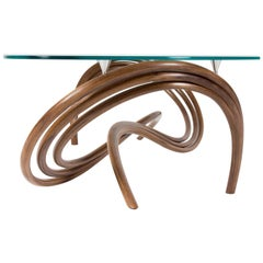Contemporary Curved and Sculptural Coffee Table in Walnut by Edward Johnson