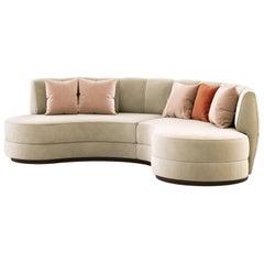 Contemporary Curved Sofa in Linen Beige Velvet and Fumed Eucalyptus Base