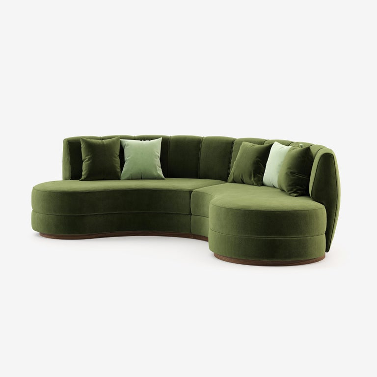 Modern Contemporary Curved Velvet Sofa in Eden Green Velvet and Walnut For Sale