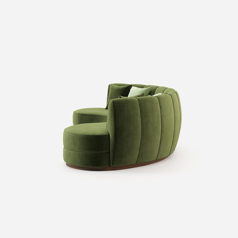 Contemporary Curved Velvet Sofa in Eden Green Velvet and Walnut In New Condition For Sale In New York, NY