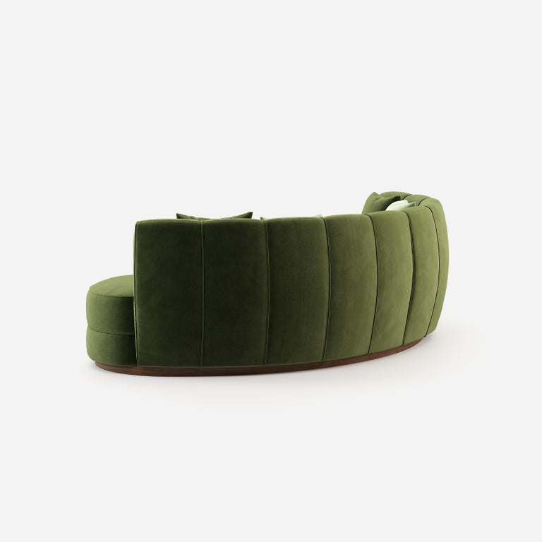 Contemporary Curved Velvet Sofa in Eden Green Velvet and Walnut For Sale 1