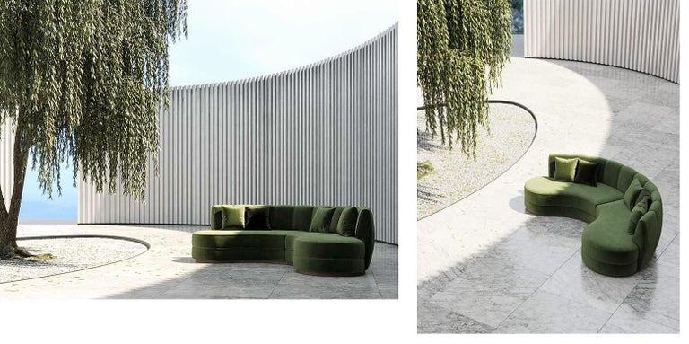Contemporary Curved Velvet Sofa In Eden Green Velvet And