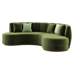 Contemporary Curved Velvet Sofa in Eden Green Velvet and Walnut