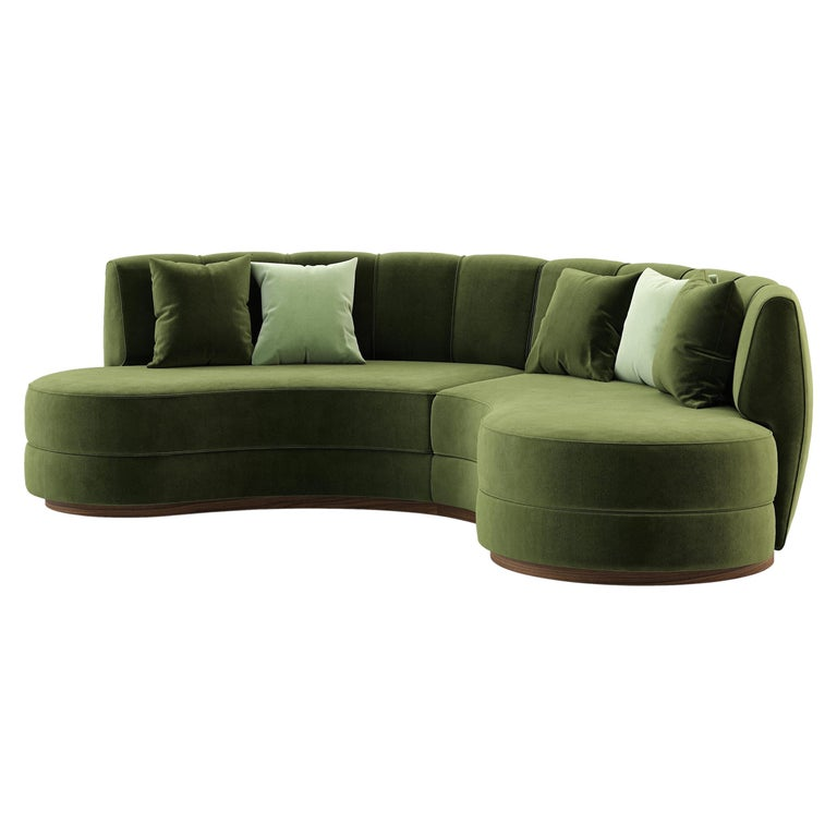 Contemporary Curved Velvet Sofa in Eden Green Velvet and Walnut For Sale