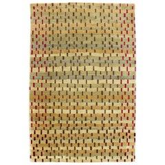 Contemporary Custom Made Modernist Wool Silk Blend Rectangular Area Rug Carpet