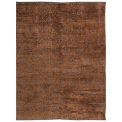 Contemporary Custom Moroccan Brown and Blue Hand Knotted Wool Rug