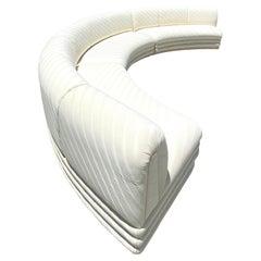 Contemporary Custom Tonal Striped Half Moon Sectional Sofa