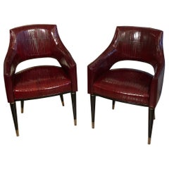 Contemporary Customizable Art Deco Black Lacquered and Brass Legs Armchairs