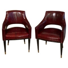 Contemporary Customizable Art Deco Black Wood Brass Endings Legs Armchairs