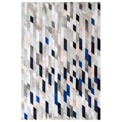 Gray blue & pink Customizable Astila Cowhide Area Floor Rug Medium